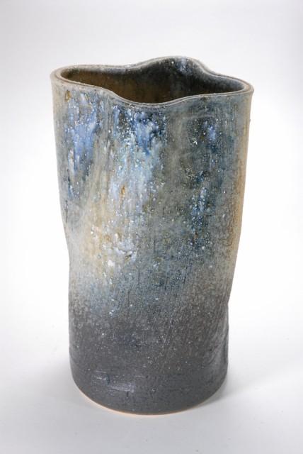 灰窯変ひねり花入れ 11号 (信楽焼・陶器・花瓶...
