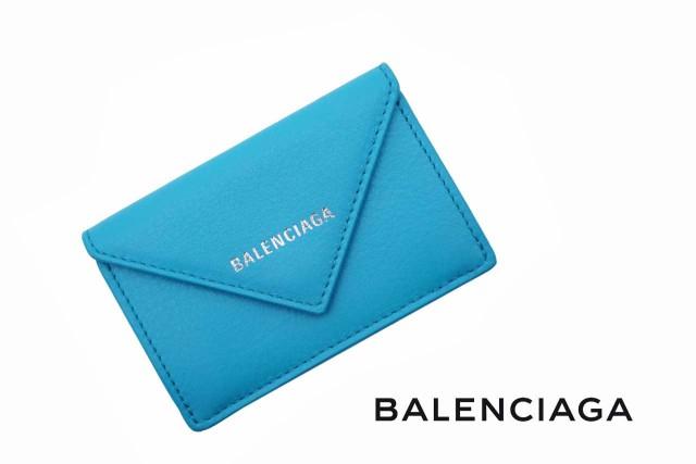 F198 BALENCIAGA バレンシアガ ロゴ ペーパー ミニ ウォレット レザー 財布 イタリア製 女 レディース 新品 ★ ブレクレール 4315
