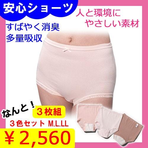 【送料無料+Pt還元】3枚セットM〜LL 女性用吸水...