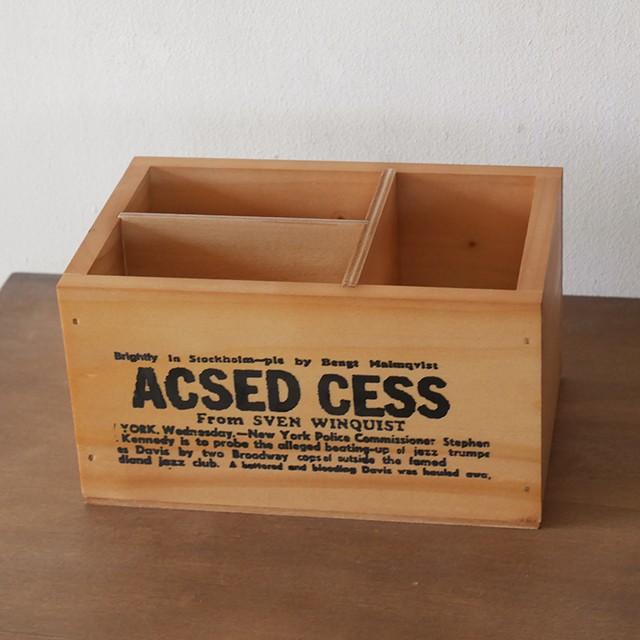 木箱 ペンスタンド リモコンケース ブラウン ペン...
