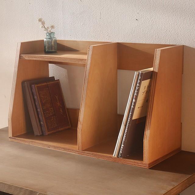 木製 ブックスタンド 飾り棚 卓上 本棚 ブックエ...