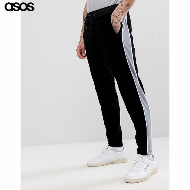 エイソス メンズ パンツ ブラック ASOS Slim Jogg...
