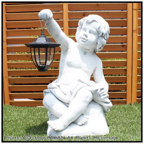 トレドH60cm イタリア製庭園 石造人物照明付オブ...