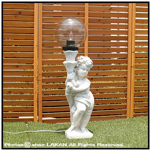 子供の庭園灯(右)H94cm イタリア製庭園 石造外灯 ...