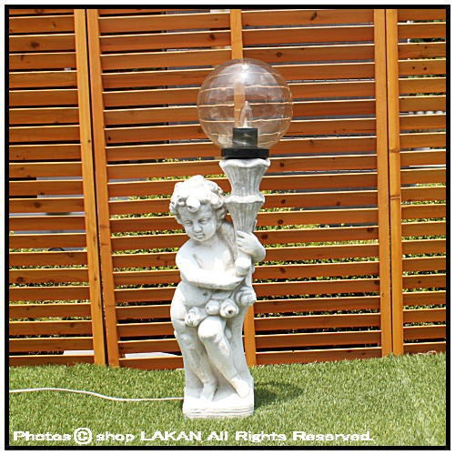 子供の庭園灯・左H94cm イタリア製洋風ガーデン石...