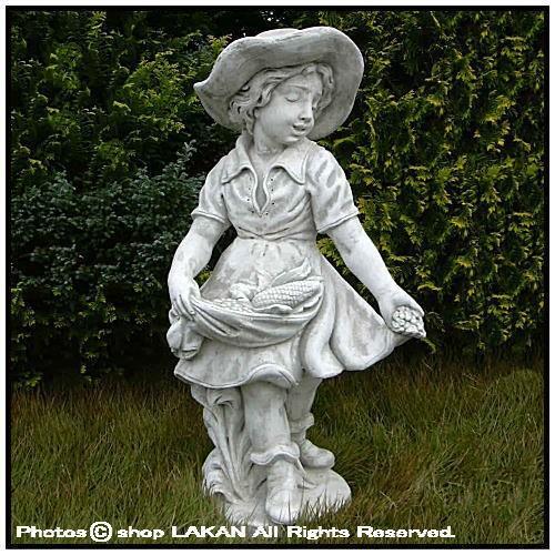 エプロンの少女像H90cm イタリア製 石造少女 人物...