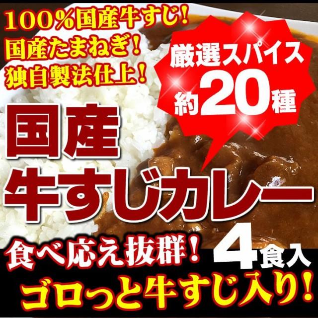 牛すじカレー 4袋 100%国産牛すじ たまねぎ使用 ...
