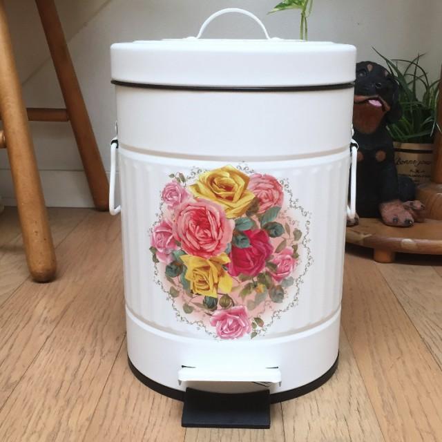華やか薔薇のステップビン・ゴミ箱 5リットル(Mサ...