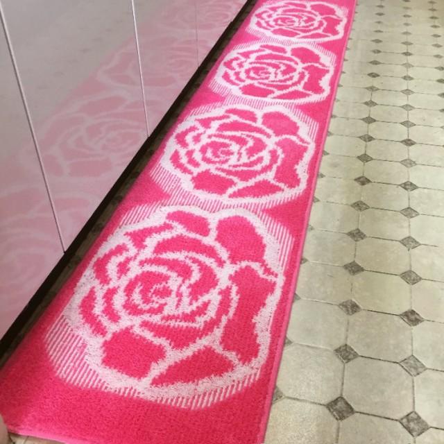【日本製】45x180cm綺麗なピンク系薔薇のキッチン...