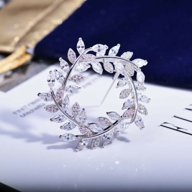 AAA級ジルコニア CZダイヤモンド 幸福の葉ブロー...