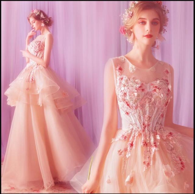 刺繍 不規則 ウェディングドレス ロングドレス 姫...