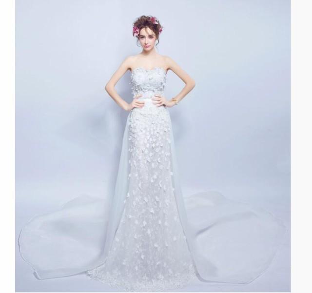 マーメイドライン ウェディングドレス 花嫁ドレス...