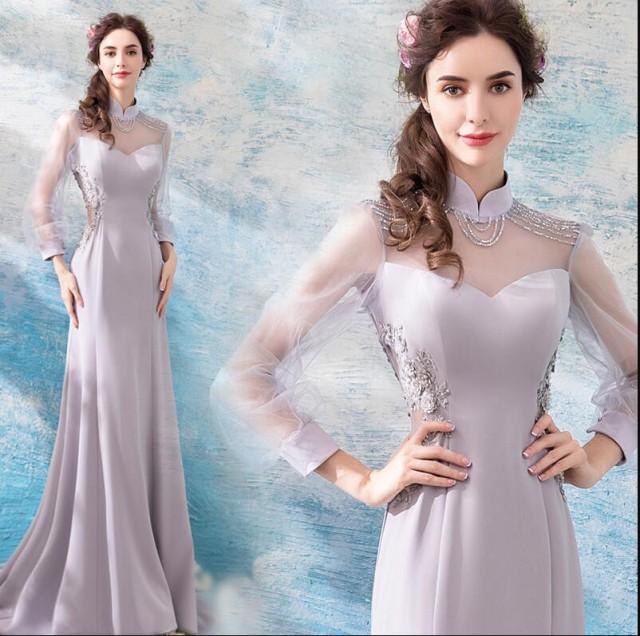 袖ありマーメイドドレス ウェディングドレス 二次...