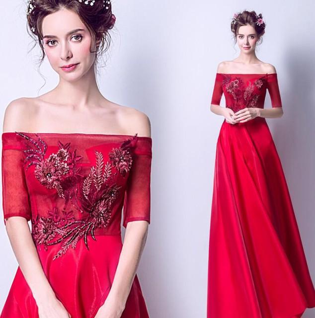 ウエディングドレス ロングドレス 結婚式 花嫁 ブ...