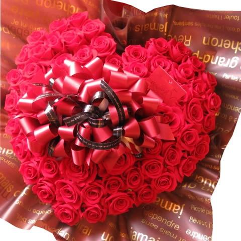 還暦祝いプレゼント 花 フラワーギフト ハート プリザーブドフラワー 赤バラ 60輪 ハートフラワーギフト 還暦祝いにオススメ♪