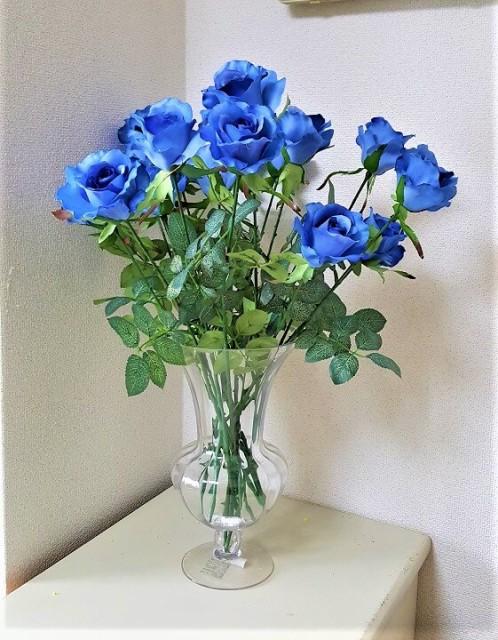 造花  薔薇  青いバラ