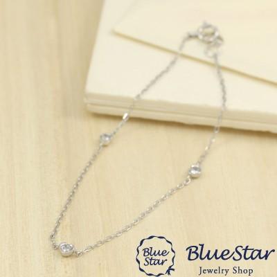 ダイヤモンドハートブレスレット 16cm K10WG Blue...
