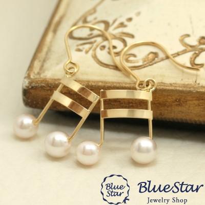 音符のゆれるシンプルパールピアスK18YG BlueSta...