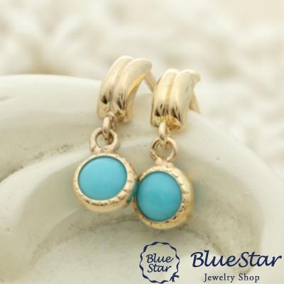 トルコ石のスイングピアス K10YG BlueStar