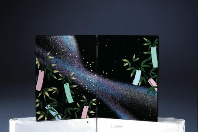 木製屏風 七夕 紀州漆器 蒔絵 季節 和 和柄 28M 4...