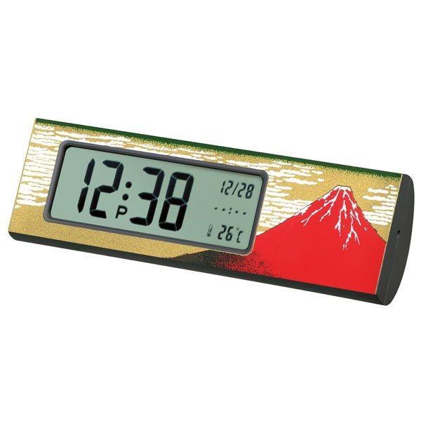 蒔絵デジタルクロック 赤富士 記念品や日本土産、...
