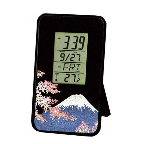 蒔絵カードクロック 富士に桜和風 和柄 漆器 蒔絵...