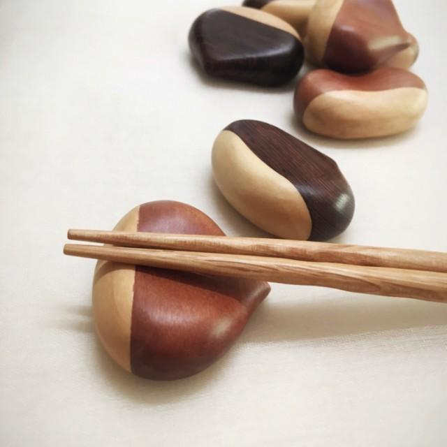 ミャンマー産高級天然木 栗型 箸置き マロン箸置...