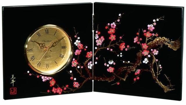 送料無料・名入れ無料  贈る漆器の屏風時計 木製 蒔絵 香林  結婚祝 置時計 父の日 母の日 敬老の日 海外土産 日本土産 和風 和柄 新