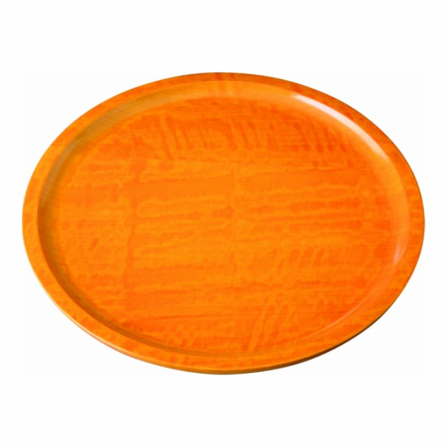 木製くりぬき丸盆 27cm 厚型 やまぶき染 23-9-8B ...