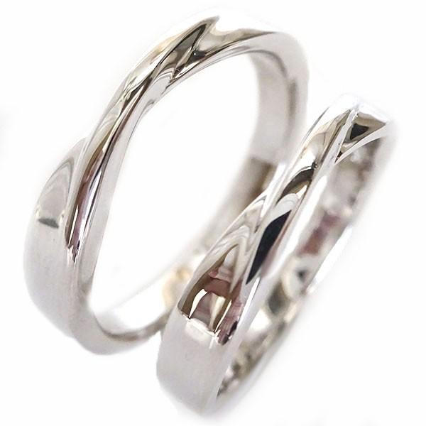 結婚指輪 マリッジリング ホワイトゴールドk18 ペ...