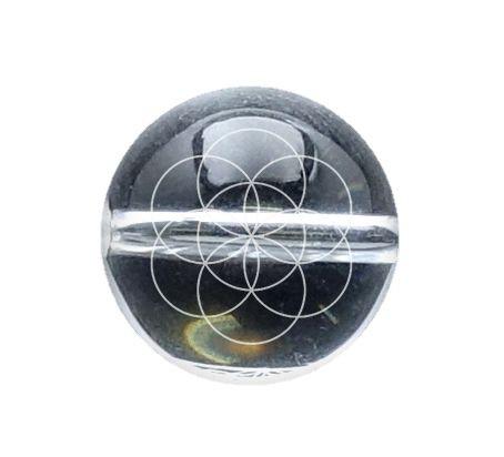 シードオブライフ 水晶 彫刻ビーズ(素彫り)14mm...