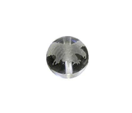 鷹(ホーク) 水晶 素彫り 12mm玉ビーズ 【穴あり...