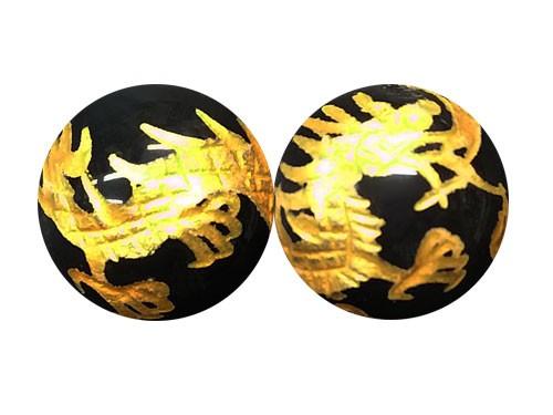 龍 オブシディアン 12mm (金色入り)手彫り玉