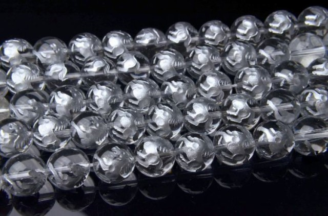銀彫り『銀馬』本水晶 10mm 一連 天然石 パワース...