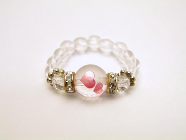 彫刻リング 指輪 水晶Wハート彫り 水晶 天然石 パ...