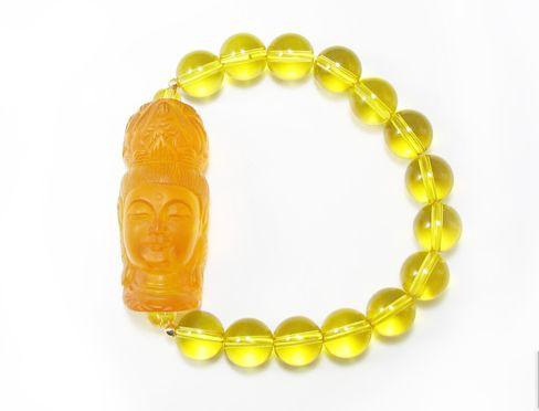 観音様 黄水晶 ブレスレット 黄水晶プレート