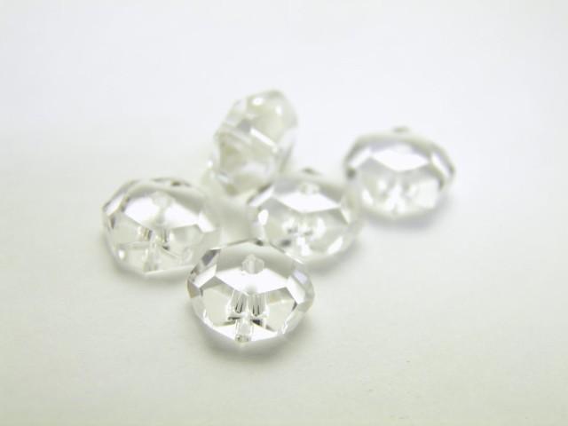 水晶 ボタン型 カット有り  3×6mm 一粒 天然石 ...