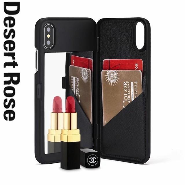 ミラー付き iPhoneケース 手帳型カバー カード収...
