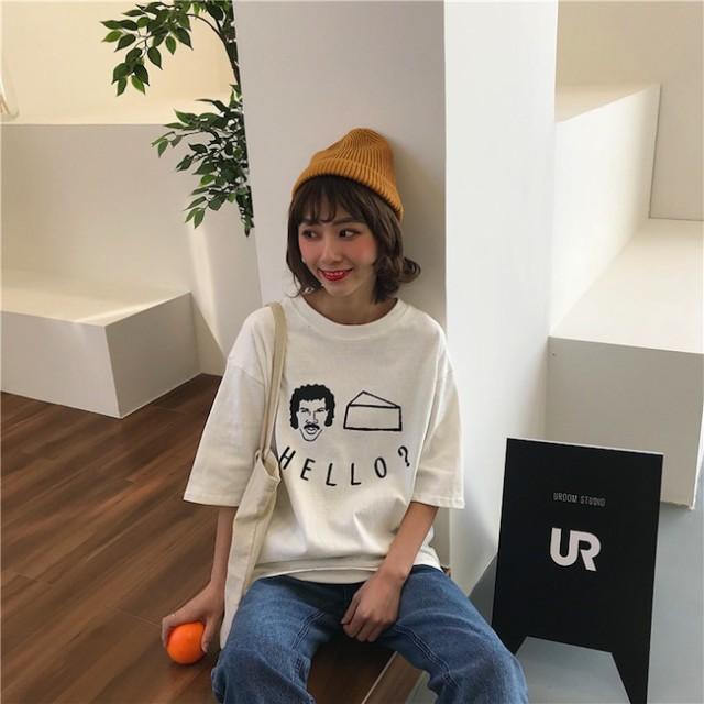 ラウンドネック POP 半袖 Tシャツ ロゴ 英字 丸首...