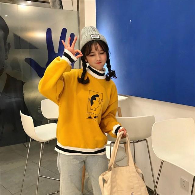 ハイネック ルーズ トップス トレーナー POP 韓国...