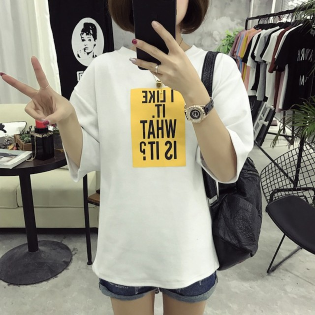 ボトミング Tシャツ 半袖 英字 ルーズ 韓国