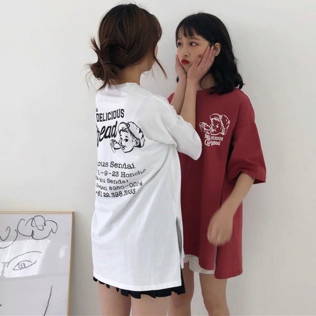 オーバーサイズ サイドスリット デザイン Tシャツ...
