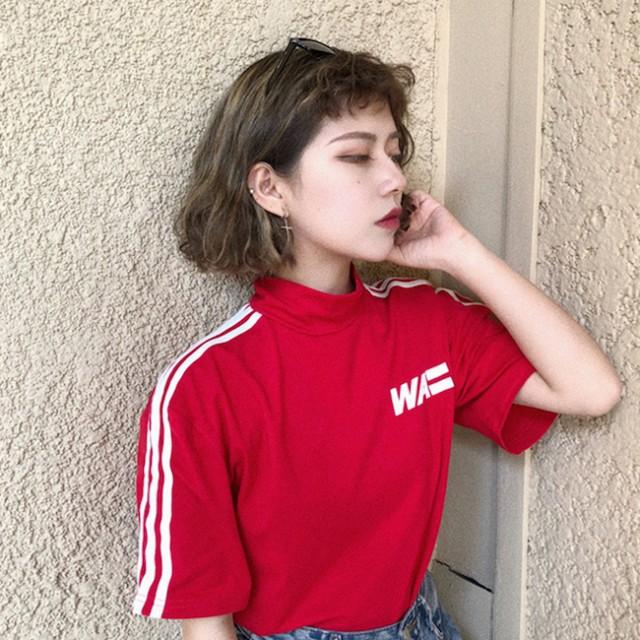 スポーティー 3本ライン Tシャツ 半袖 韓国 原宿