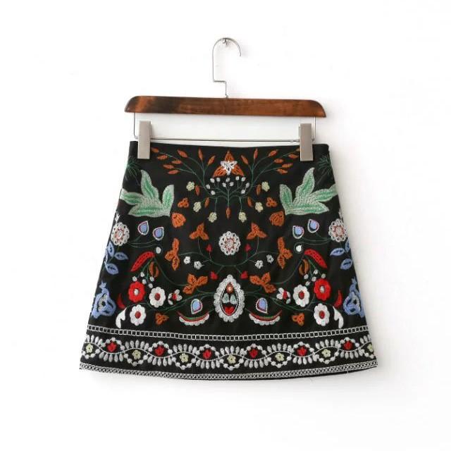 エスニック刺繍台形ミニスカートsin5708