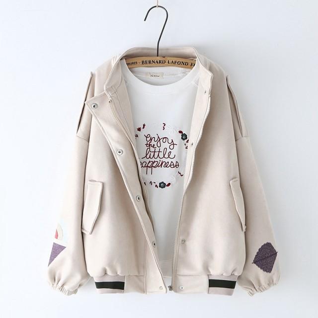 フェイクスウェード袖刺繍ブルゾンsin6606