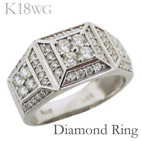 リング 印台型 パヴェ62石 ダイヤモンド K18ホワ...