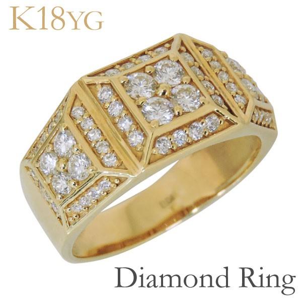 リング 印台型 パヴェ62石 ダイヤモンド K18イエ...