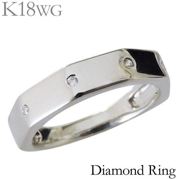 リング ダイヤモンド 4石 0.04ct K18ホワイトゴー...