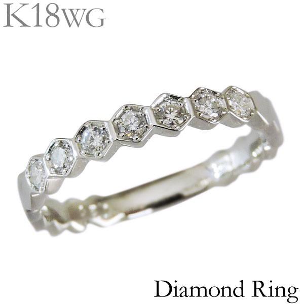 リング ダイヤモンド 7石 0.20ct K18ホワイトゴー...