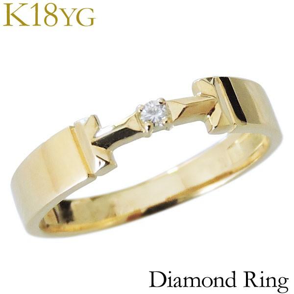 リング ダイヤモンド 1石 0.02ct K18イエローゴー...